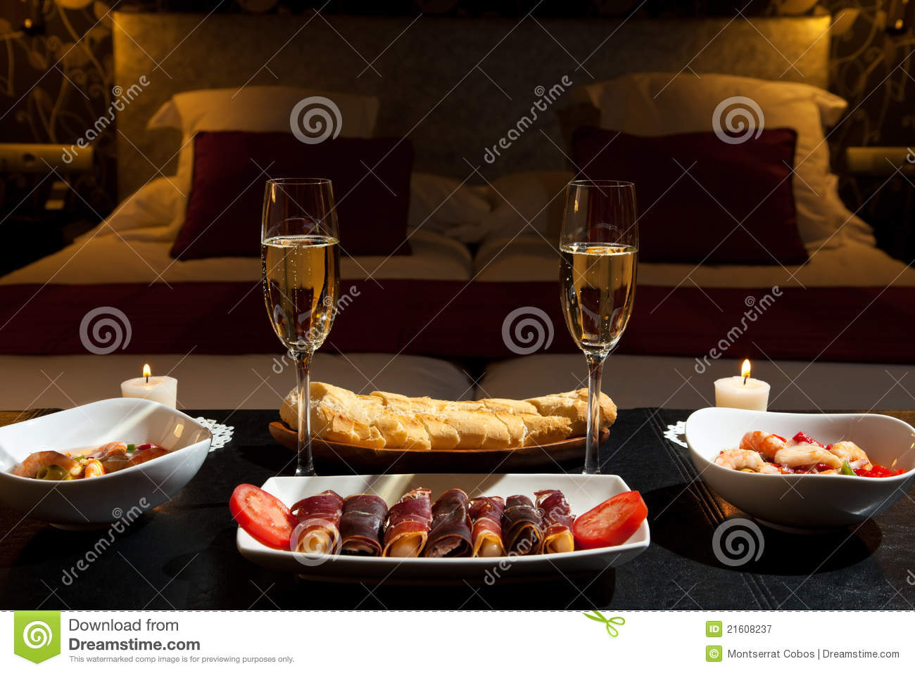 Romantic Dinner In A Luxurious Hotel Stock Image Image Of Bedding Business 21608237