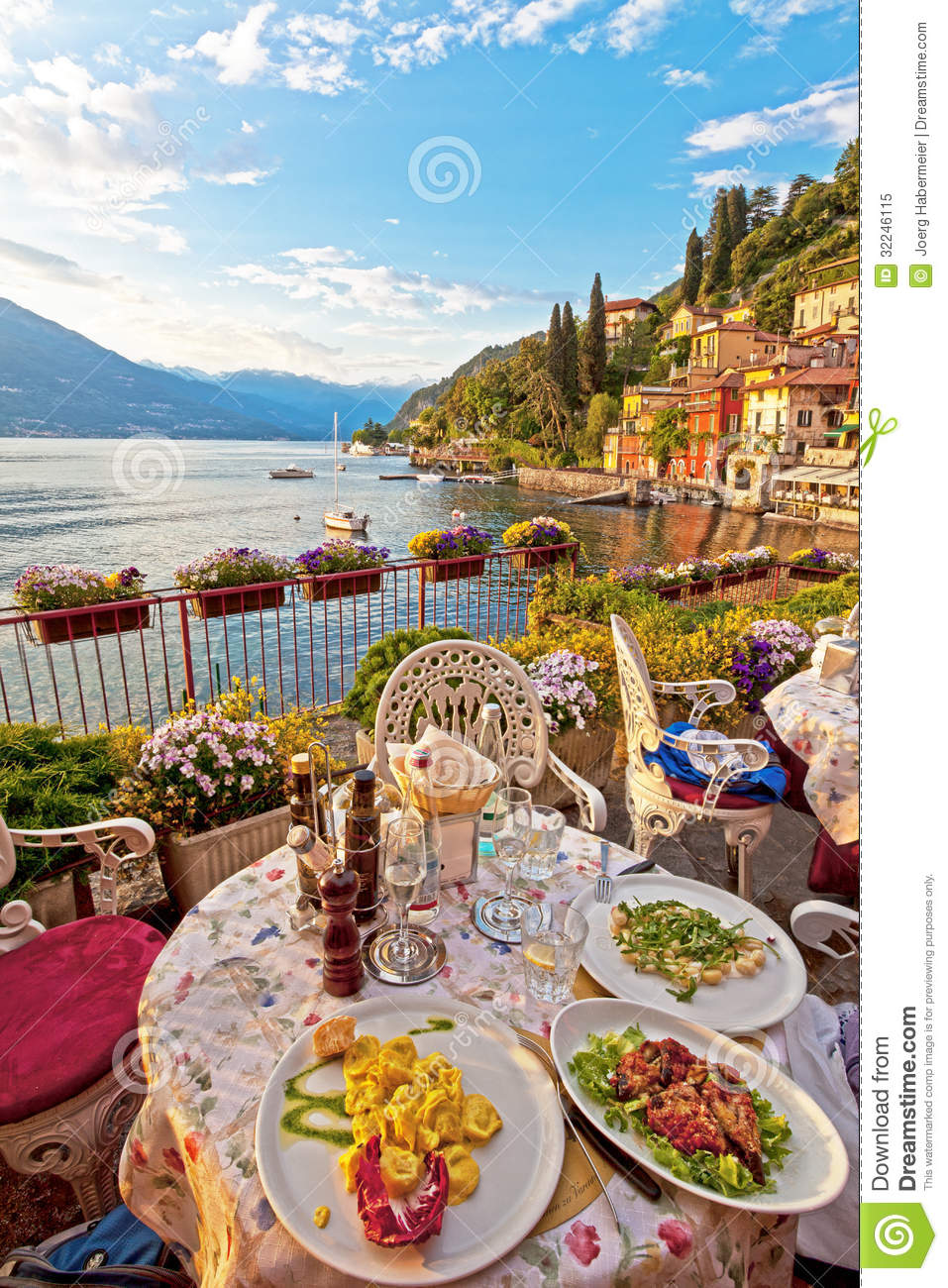 Romantic Dinner Scene Of Plated Italian Food On Terrace  : romantic dinner scene plated italian food terrace overlook three plates lovely vegetarian white plates table lovely 32246115 from www.dreamstime.com size 957 x 1300 jpeg 275kB