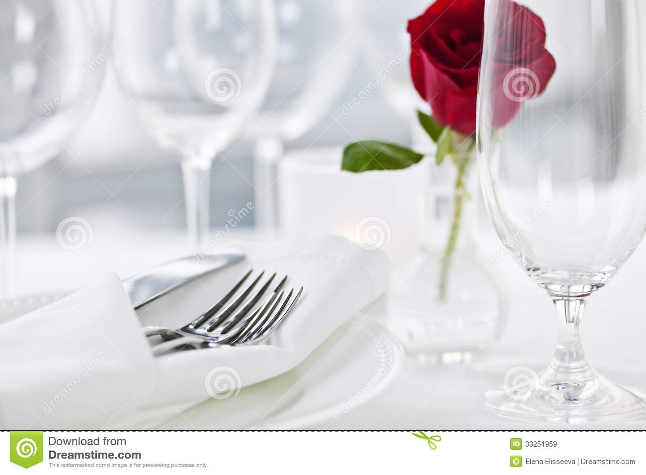 Dinner Setting romantic dinner setting in restaurant royalty free stock images