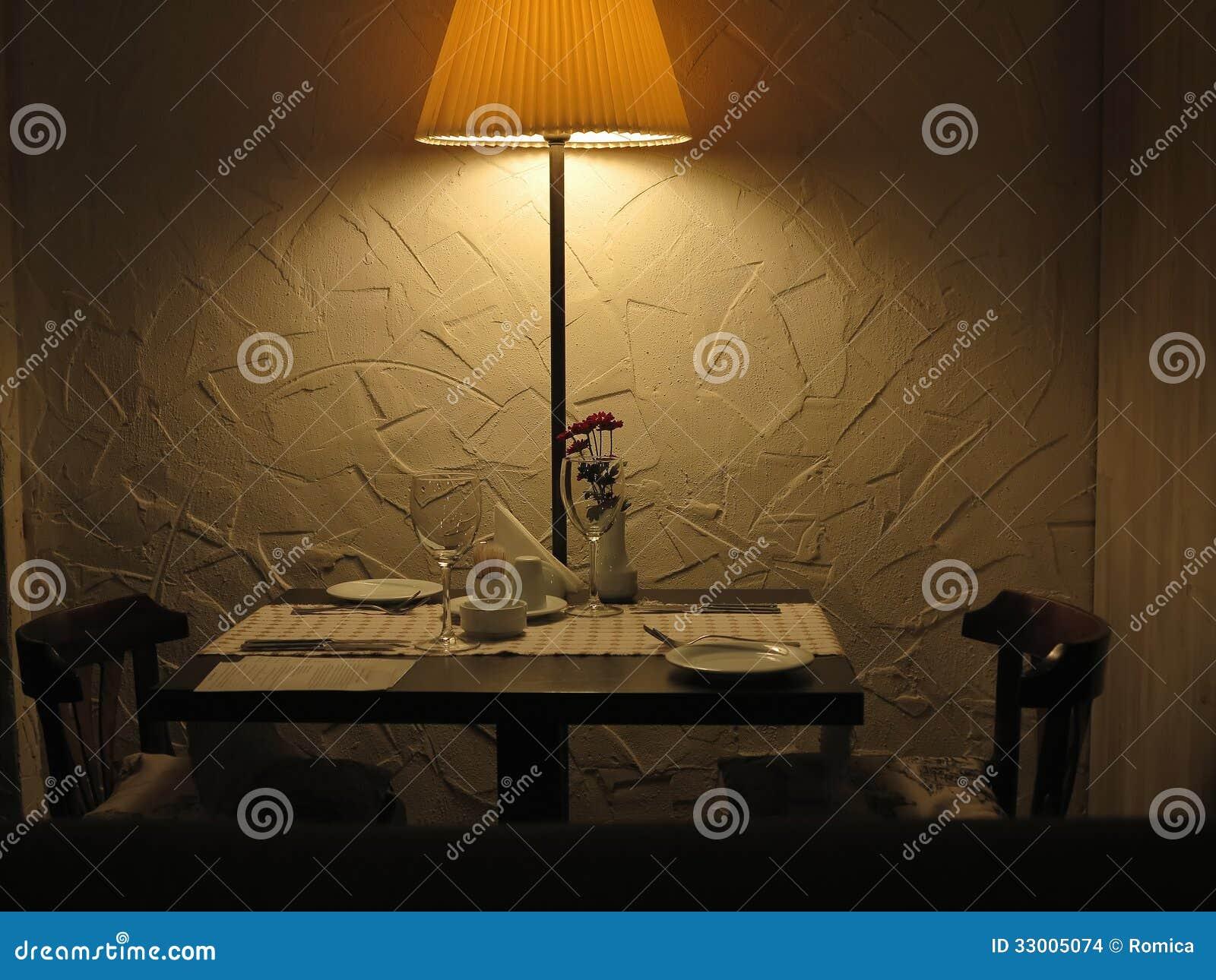 Romantic Dinner Table For Couple Served Restaurant Stock
