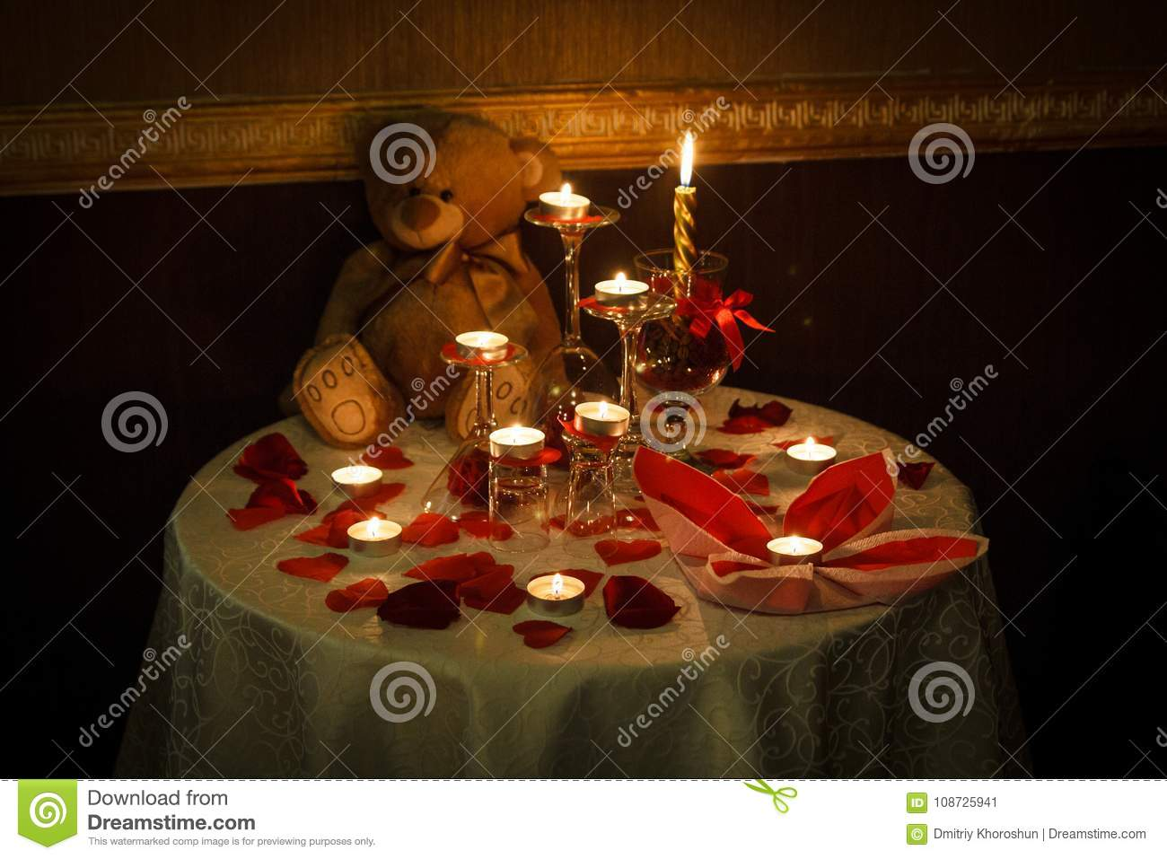 Romantic room decoration with candles