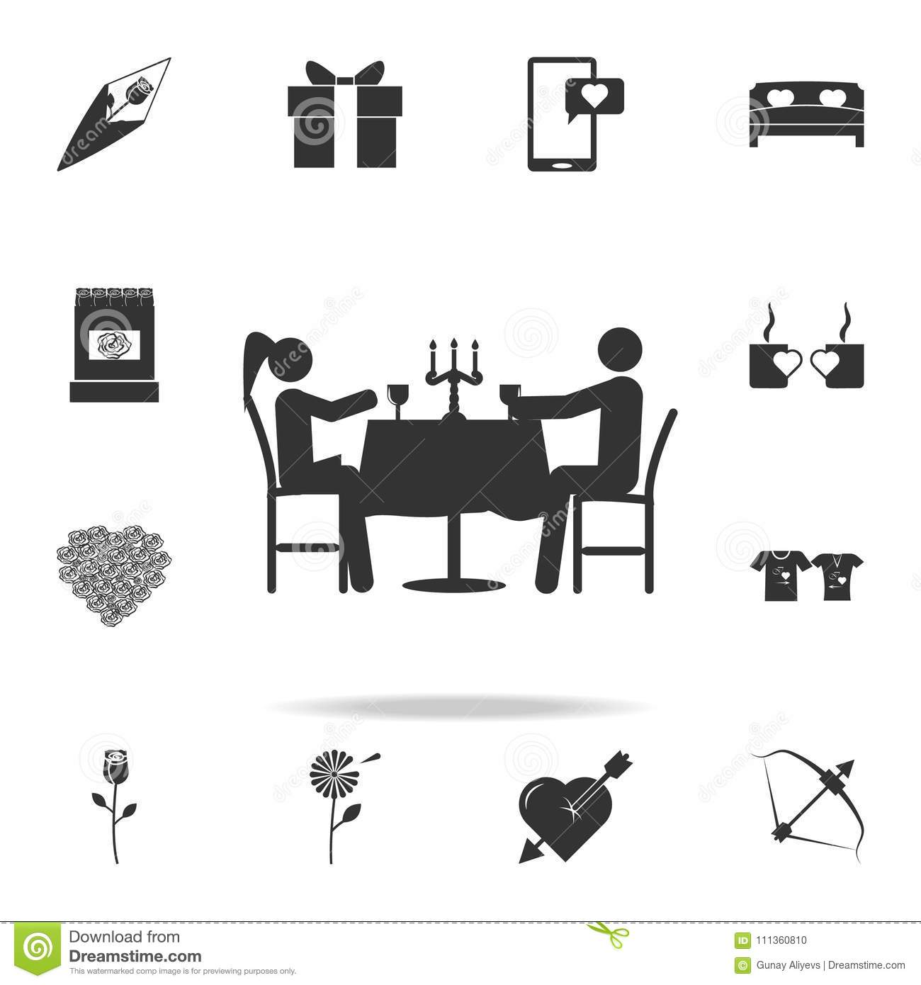 Romantic dinner for two icon. Detailed set of signs and elements of love icons. Premium quality graphic design. One of the collect