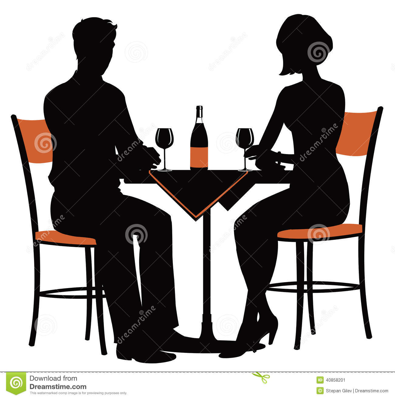 Romantic Dinner For Two Stock Vector - Image: 40858201