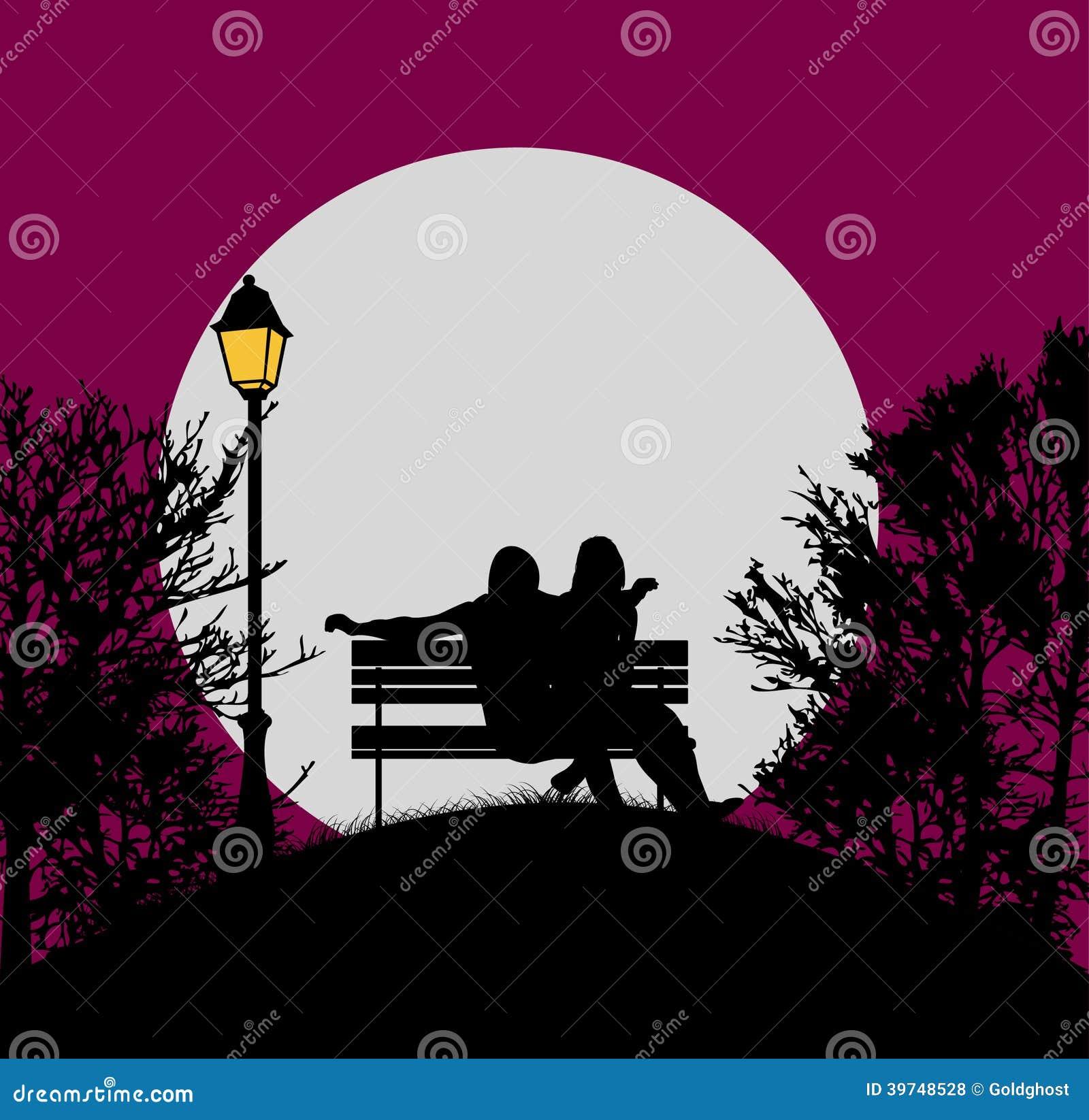 Romantic Evening In The Moonlight Stock Vector - Image ...