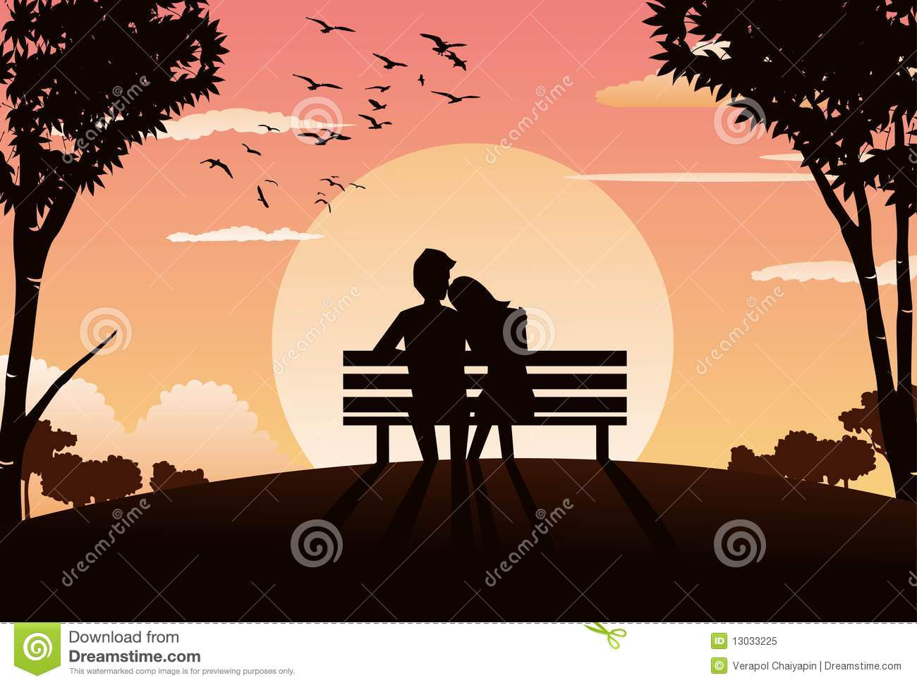 a romantic evening in the park stock illustration
