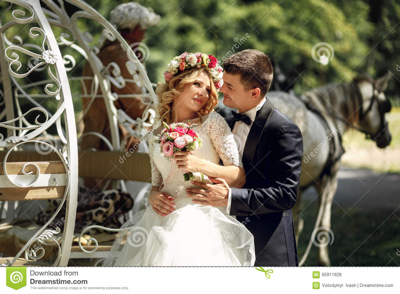 Romantic Fairy-tale Wedding Couple Bride And Groom Hugging ...
