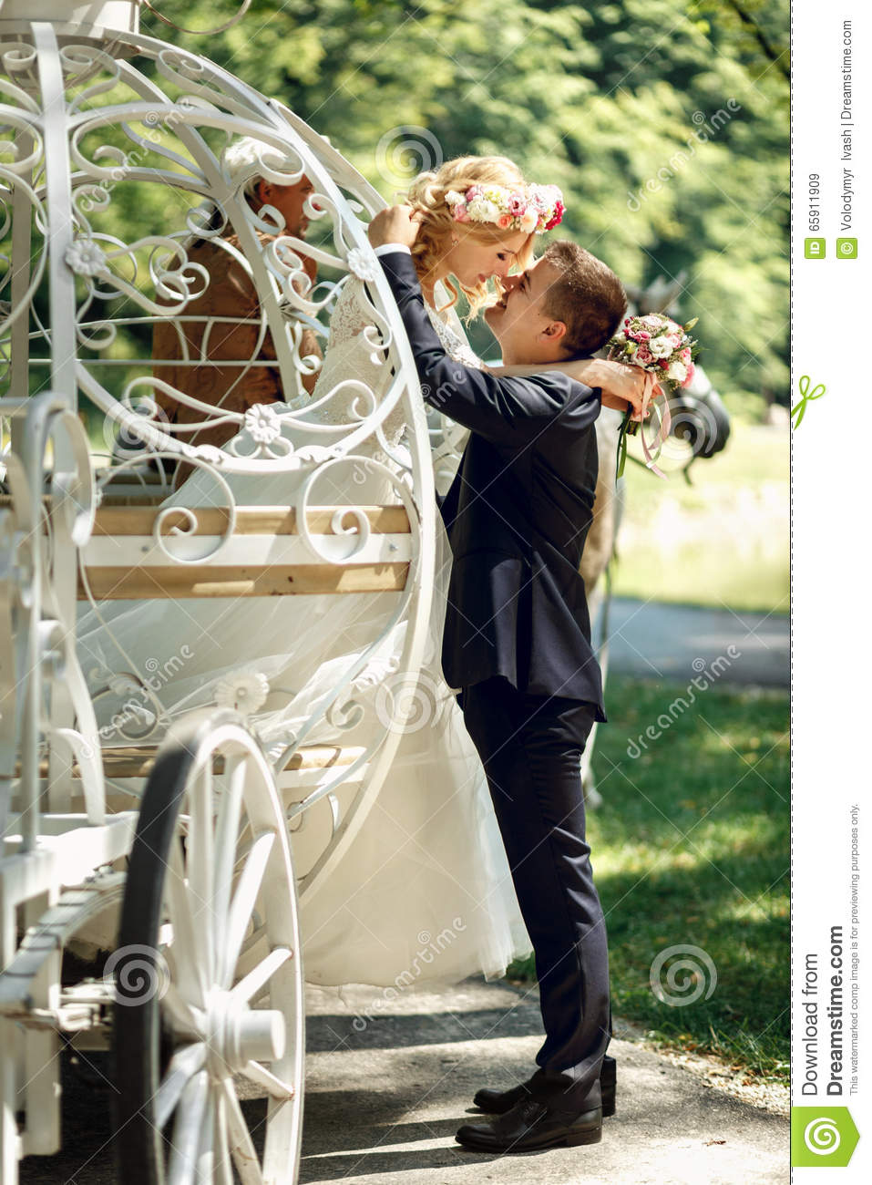 Romantic Fairy-tale Wedding Couple Bride And Groom Kissing ...