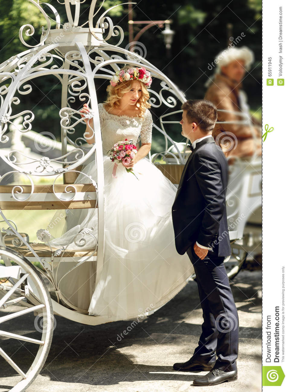 Romantic Fairy Tale Wedding Couple Bride And Groom Posing In Mag