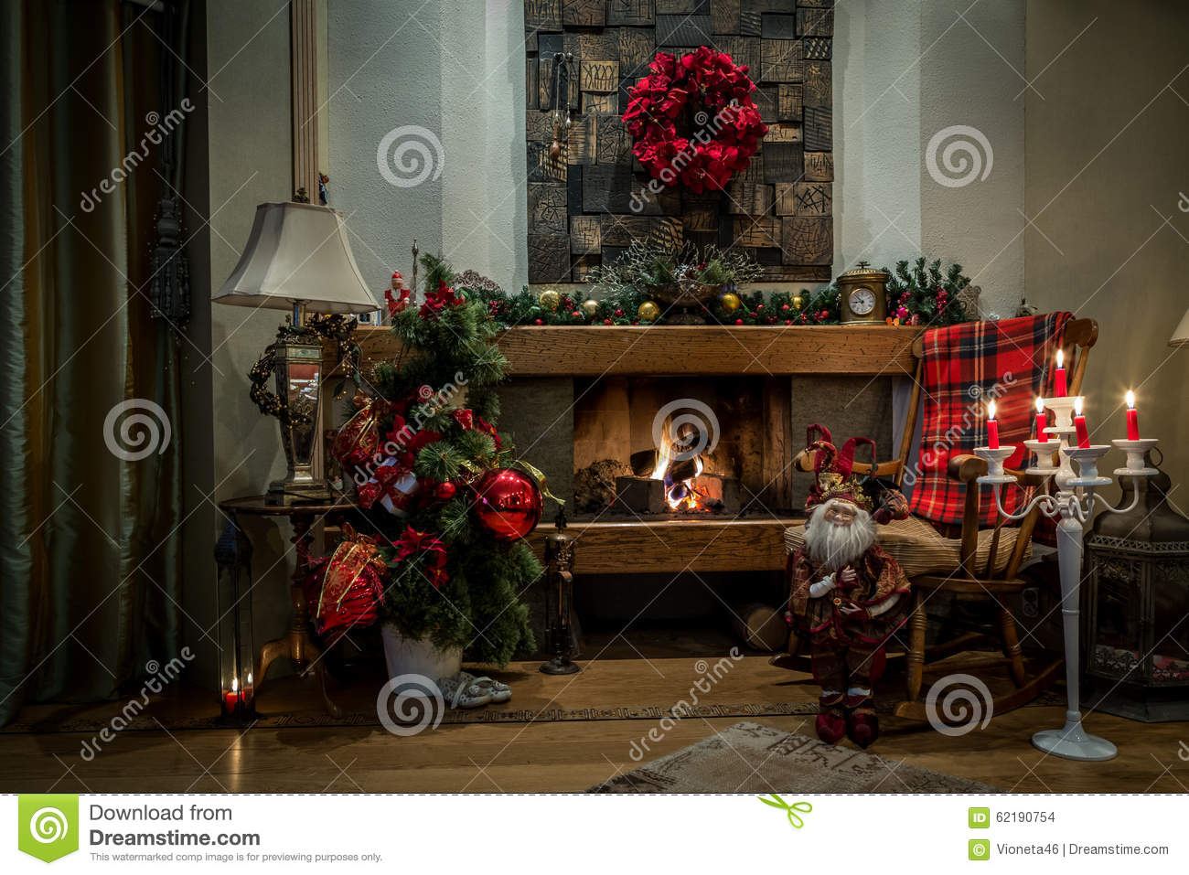 Romantic Fireplace And Christmas Decorations At Home Stock