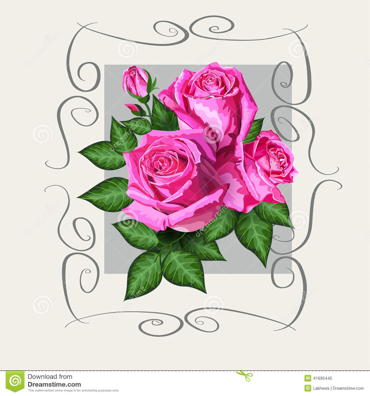 romantic floral background with pink roses flowers stock vector