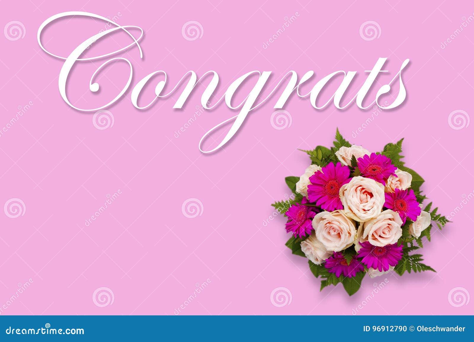 Romantic Floral Congrats Card With Flower Bouquet Stock Illustration