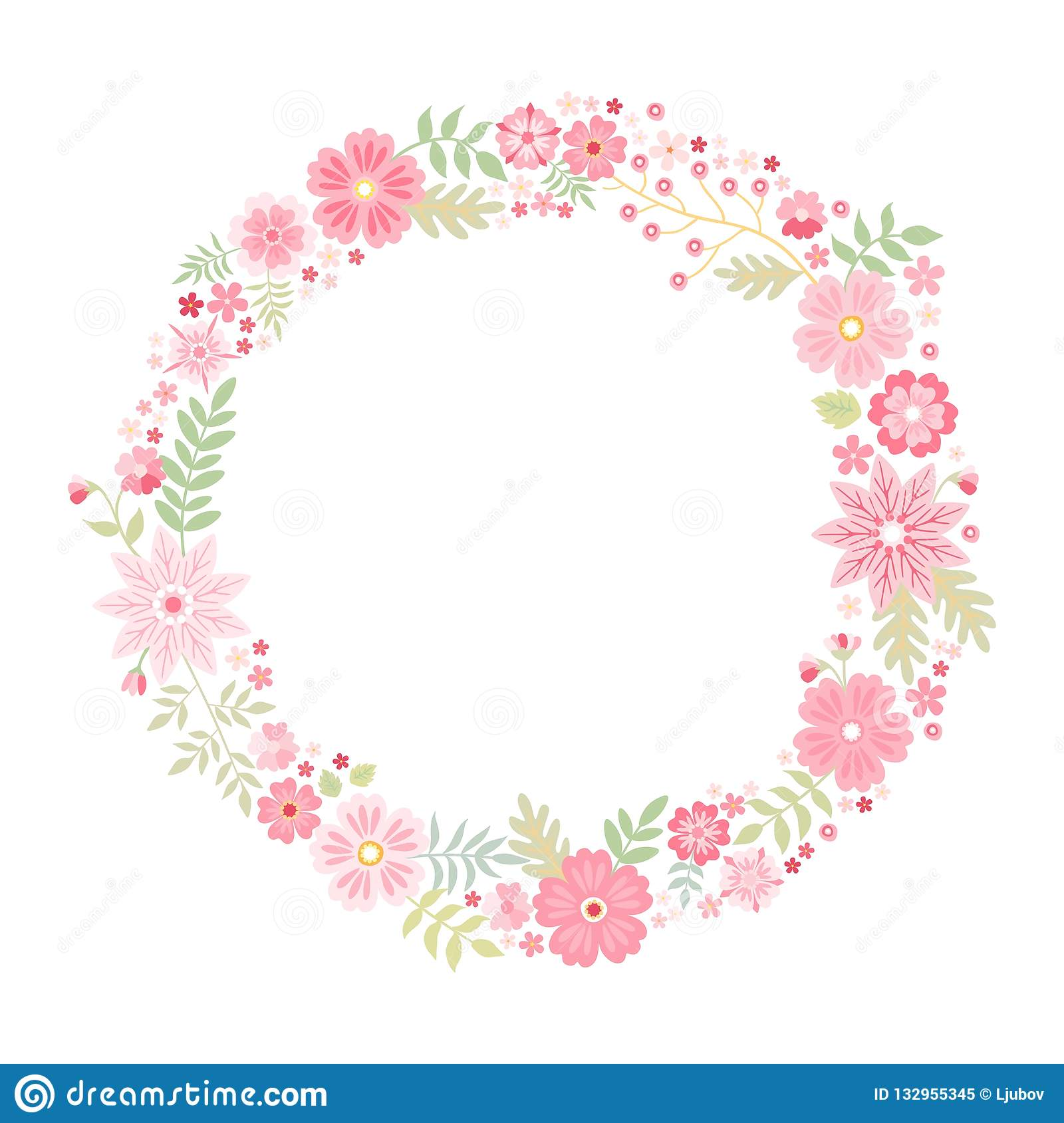 Romantic floral round frame with cute pink flowers. Beautiful wreath isolated on white background. Vector template