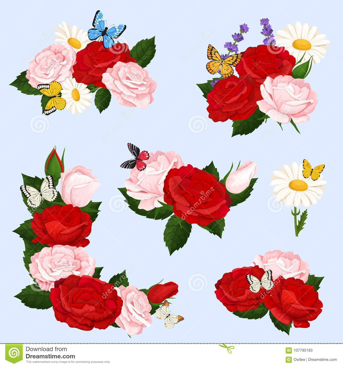 Romantic Flowers Bouquets Of Realistic Roses And Chamomile With