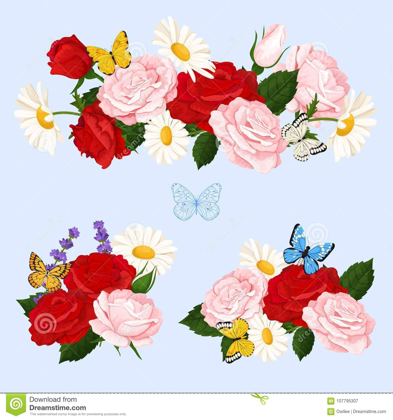 Romantic Flowers Bouquets With Roses Chamomile And Butterflies