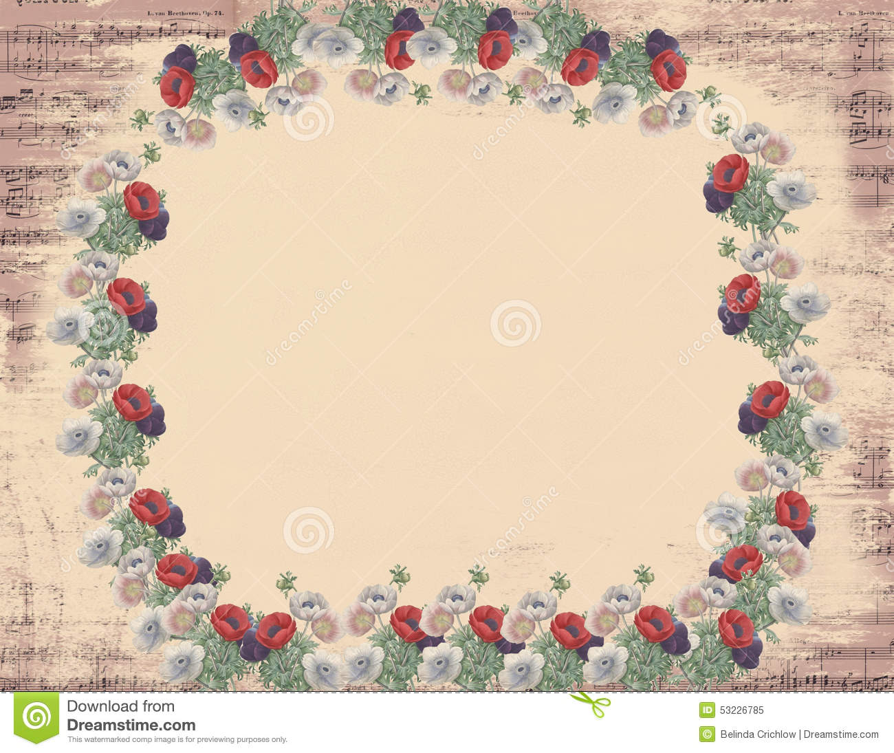 Romantic Flowery Musical Note Stock Image Image Of Frame Quotes