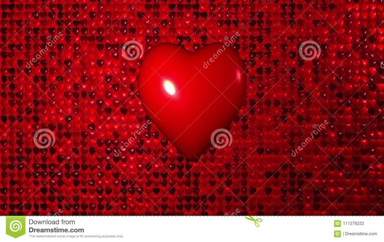 Romantic Background Flying Red Heat Wall Love Heart For St
