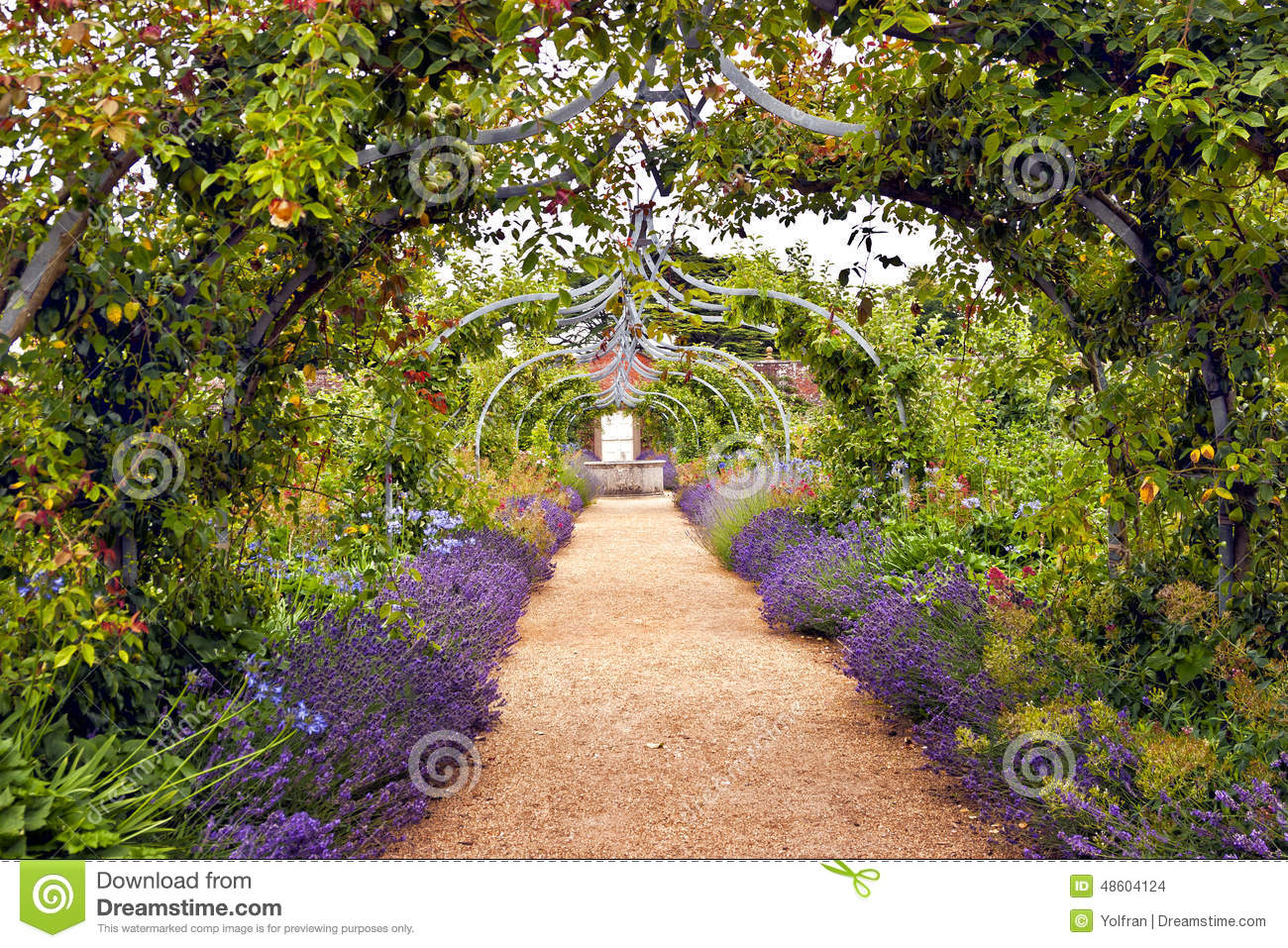 Romantic Garden Full Of Flowers In Bloom Stock Photo