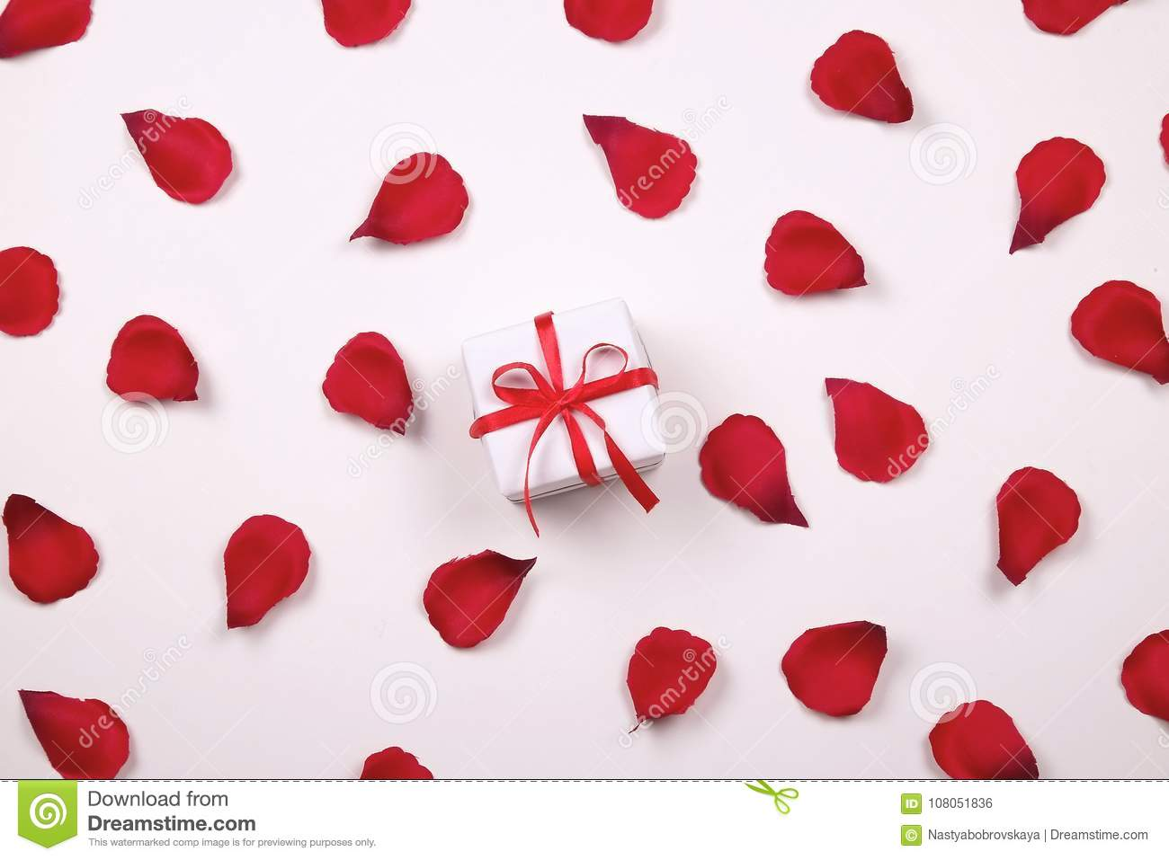 Beautiful Bright Red Rose Petals On Solid White Background Happy