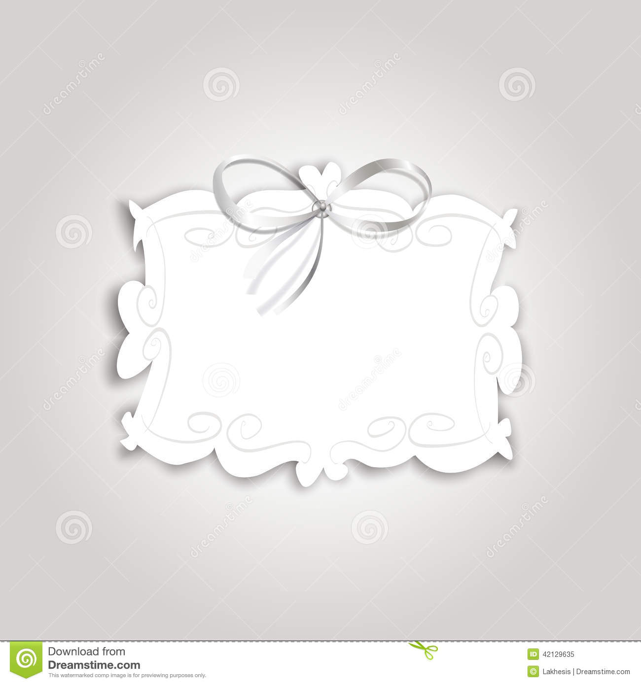 Romantic Gift Card With Vintage Label For Text And Silk Ribbon Stock