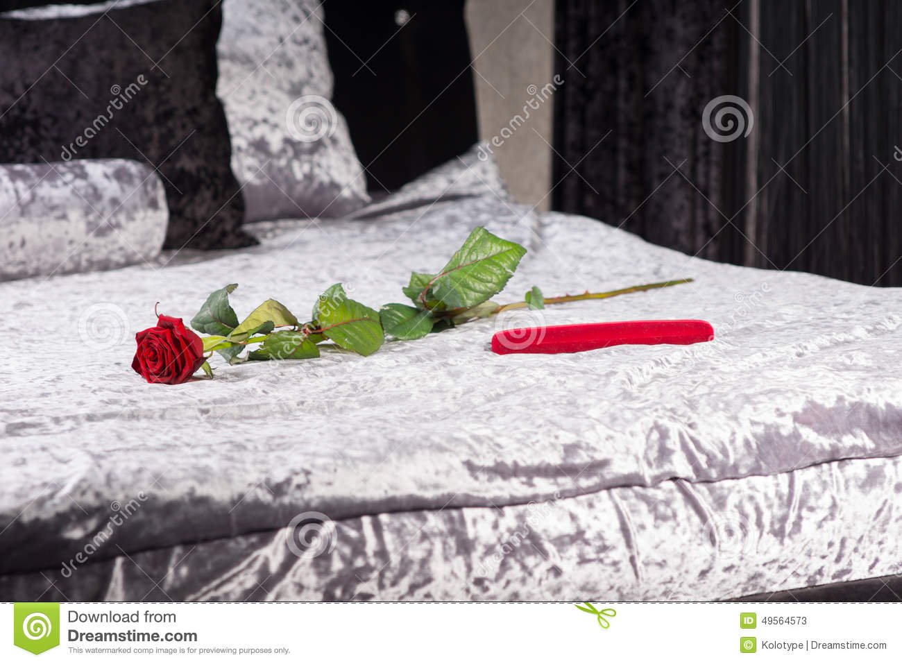 Romantic Gift And Rose In A Bedroom Stock Image - Image of ...