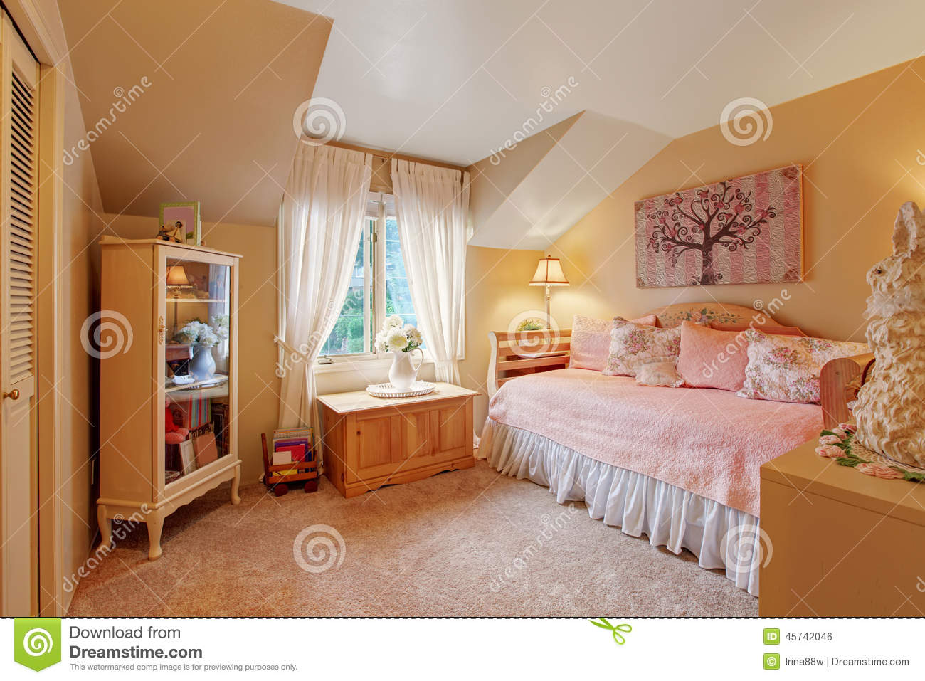 Romantic Girls Bedroom Interior In Soft Tones Stock Photo Image Of Pink Bedding 45742046