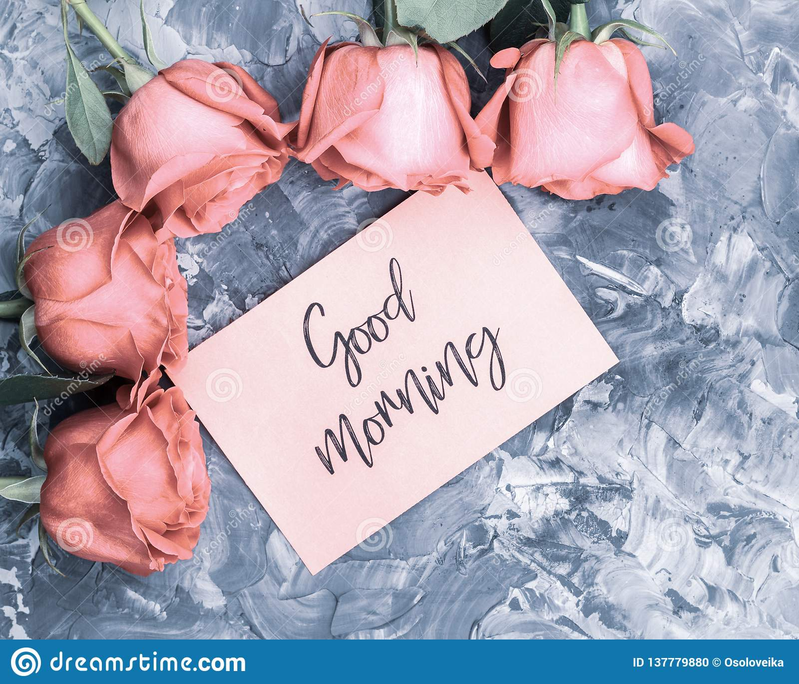 Romantic Good Morning Concept Red Roses And Lettering Wishing Good