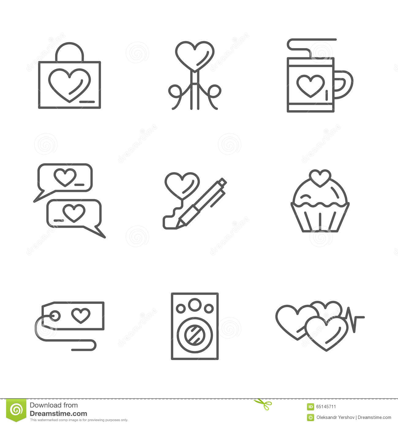 Romantic Greetings Flat Line Icons Set Stock Image Image Of Letter