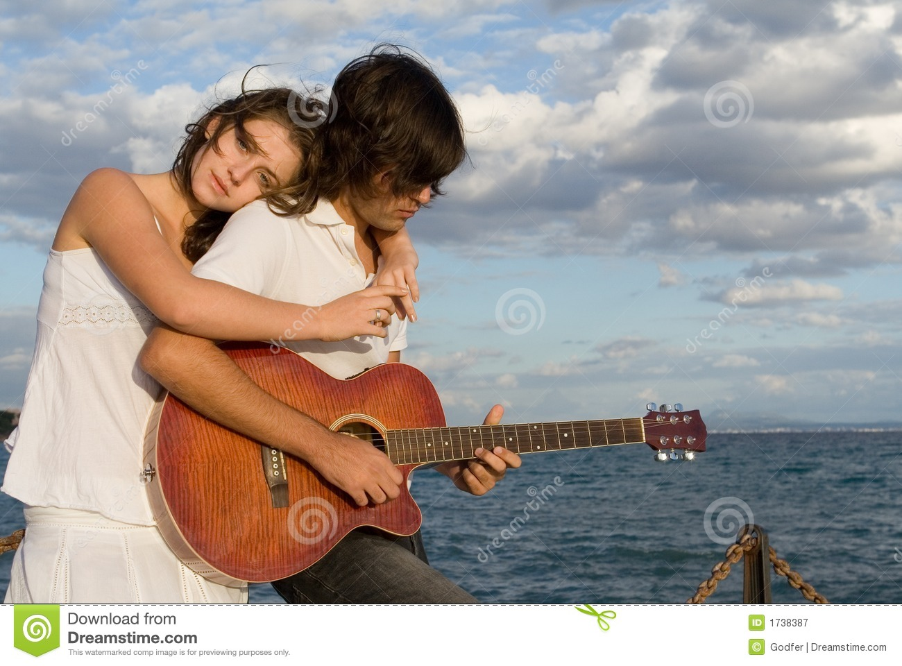 Download Romantic guitar couple stock image. Image of togetherness - 1738387