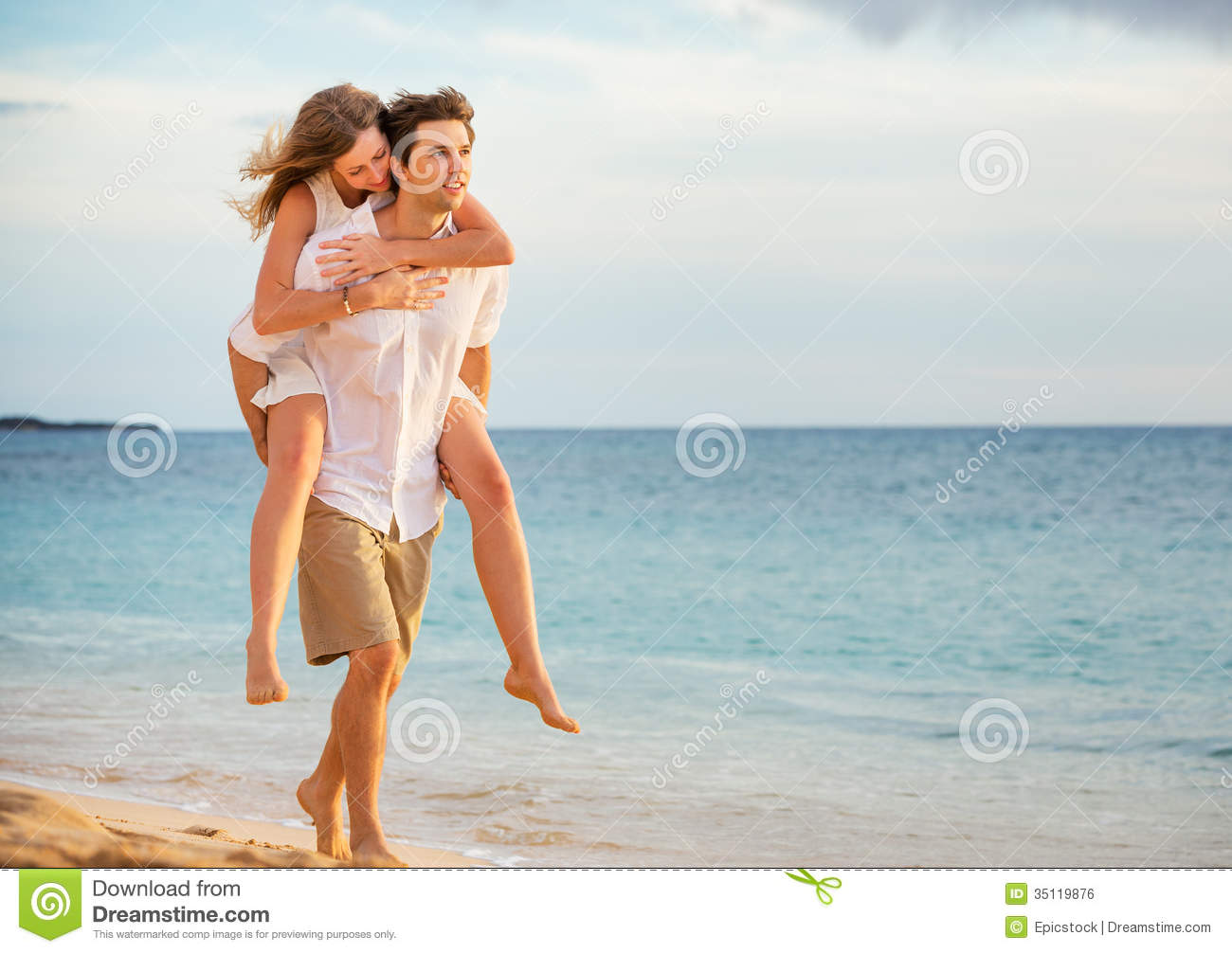 Royalty Free Stock Image Romantic Happy Couple Beach Sunset Men Women ...