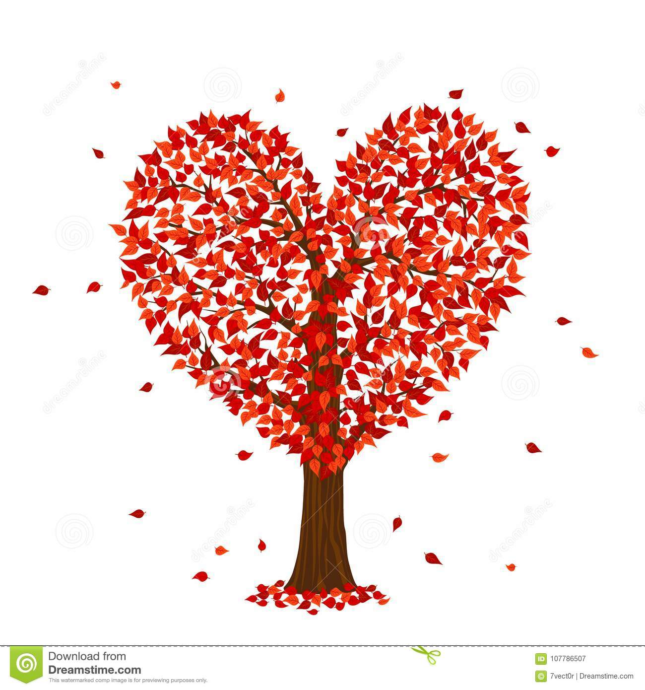 Romantic Happy Valentine`s Day Red Tree In A Shape Of Heart