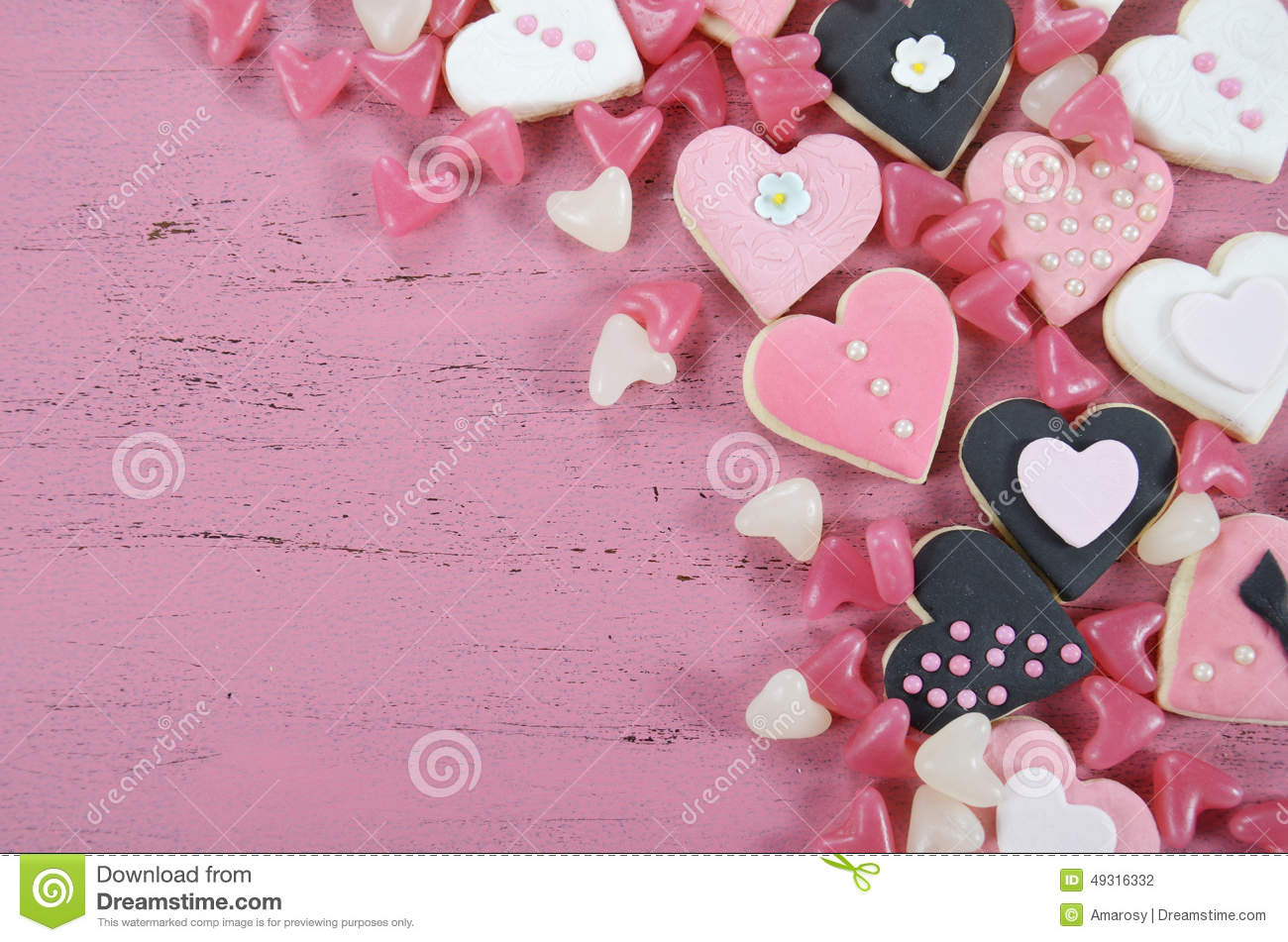 Romantic Heart Shape Pink, White And Black Cookies And ...