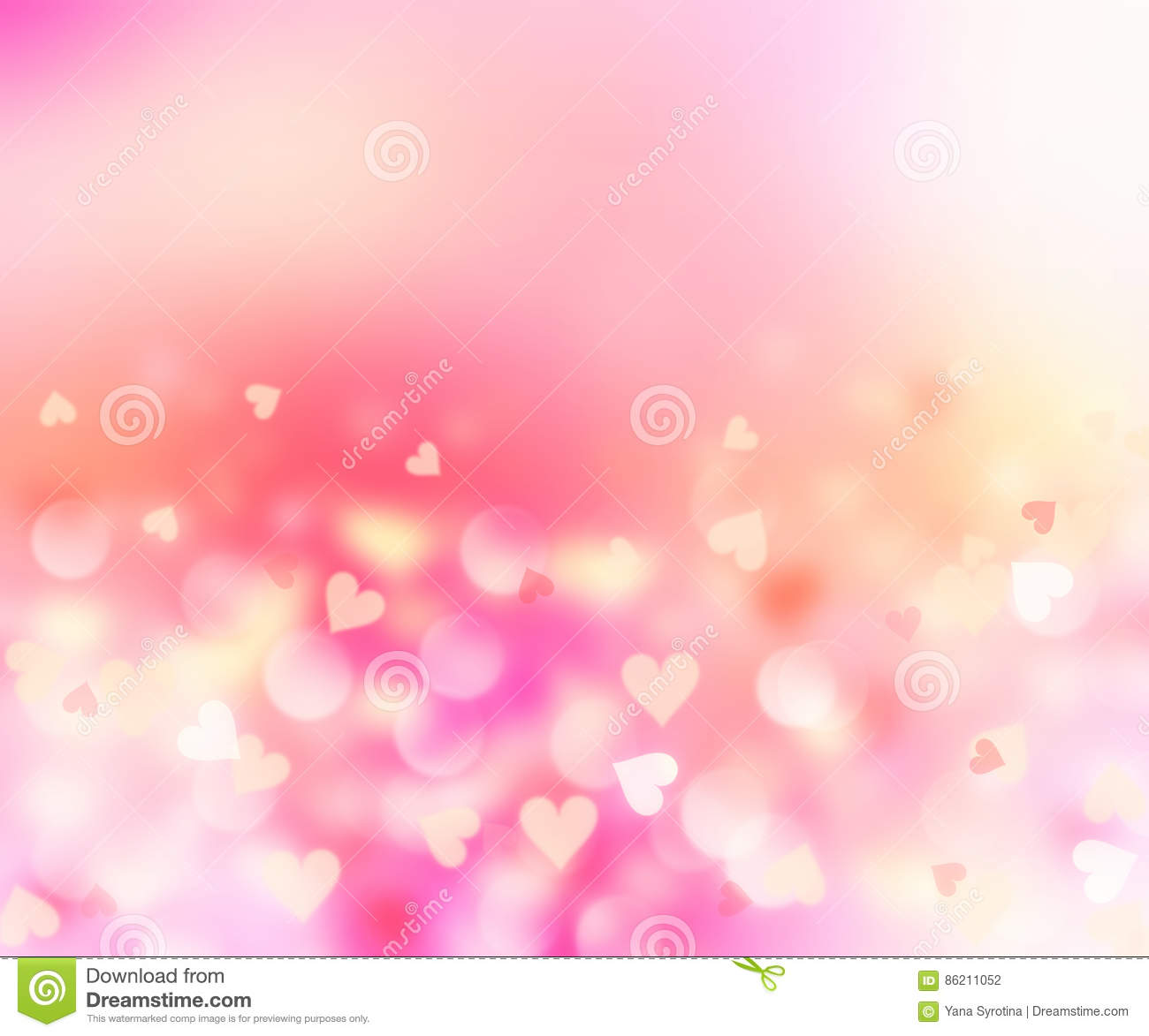 Romantic hearts blurred on pink background.Valentine card.