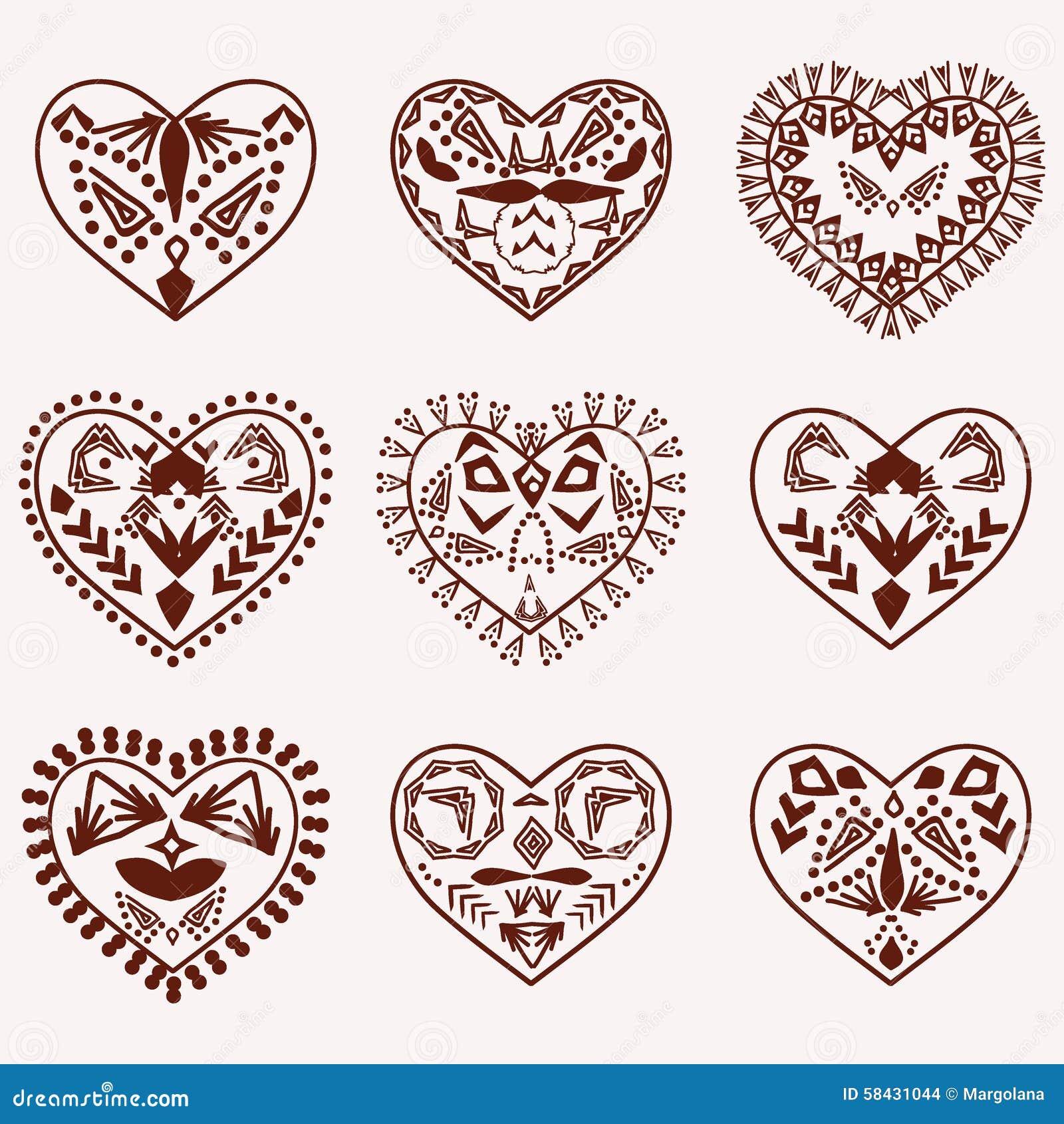 Romantic Hearts Vector Hand Drawn Stock Vector Illustration Of