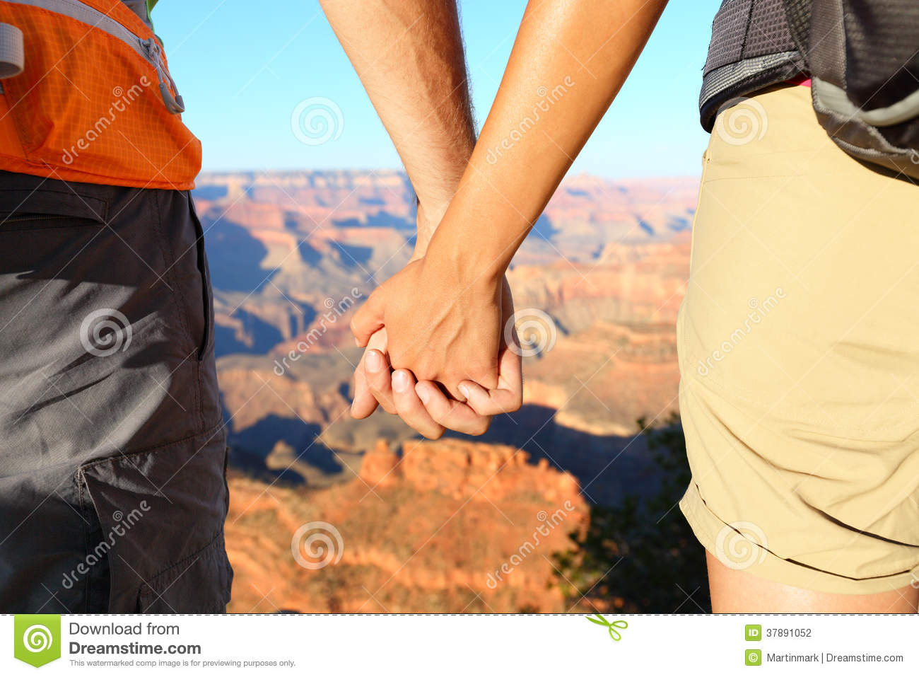 Romantic Hiking Couple Holding Hands, Grand Canyon Stock ...