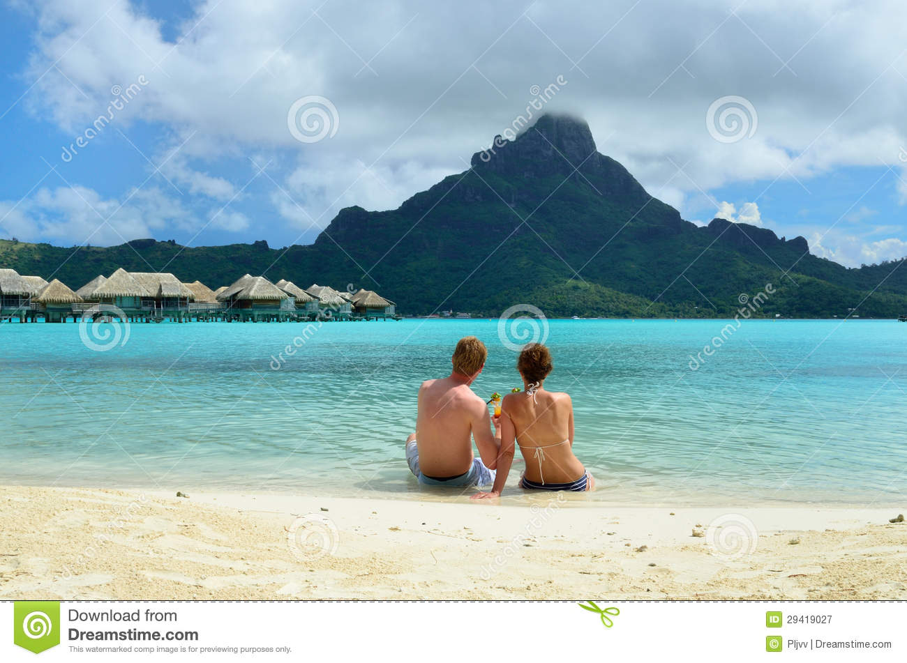 Romantic honeymoon couple on bora bora royalty free stock for Where to go for a honeymoon