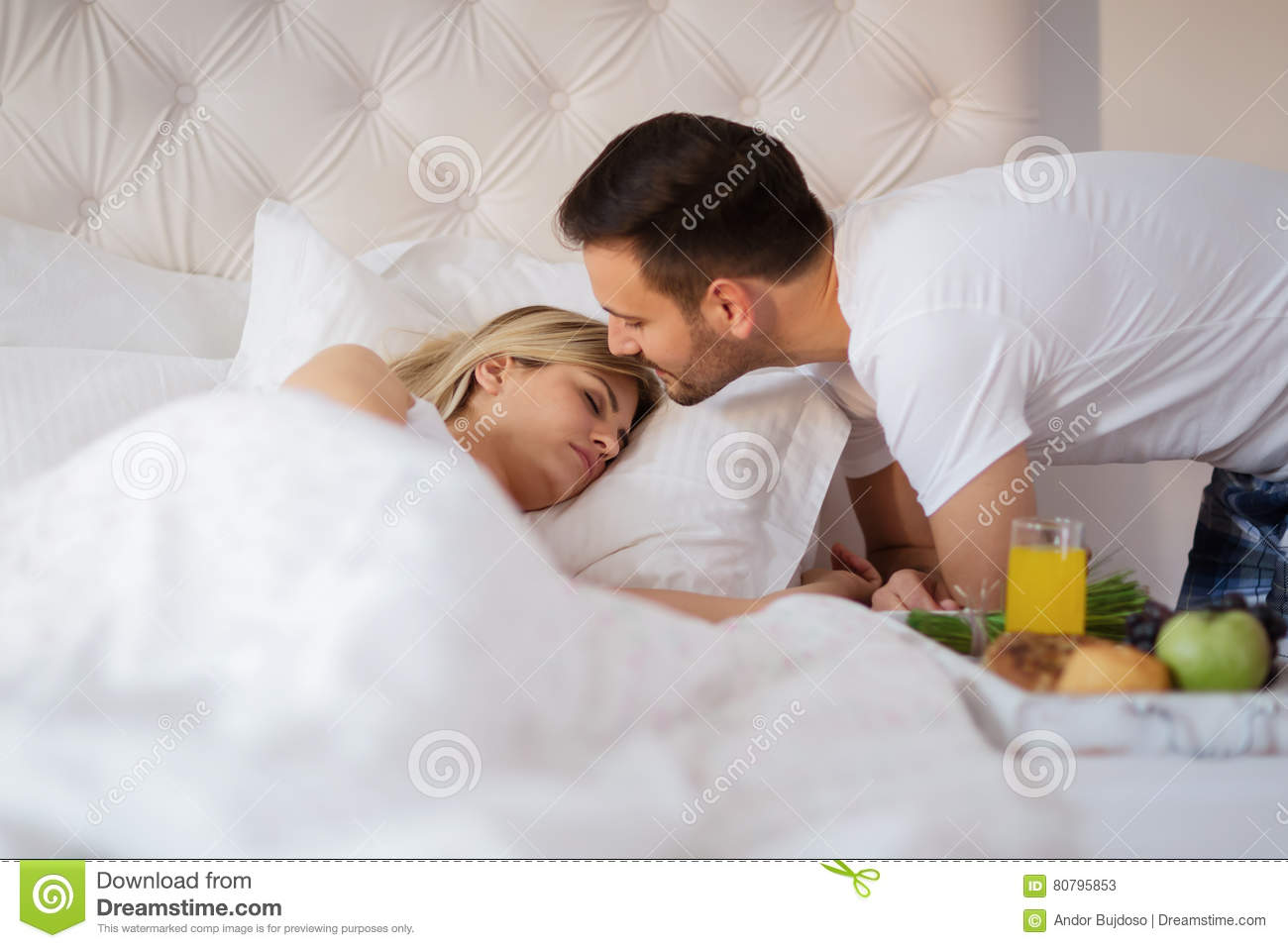 Couple romantic art bed Breakfast in