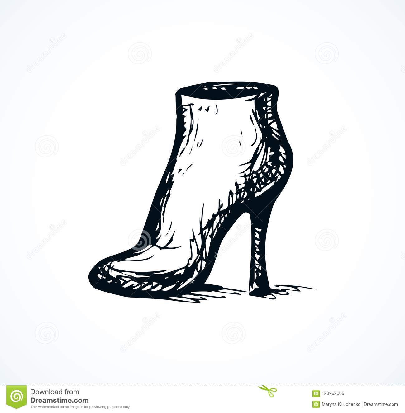 Womens Boot With Heels Vector Drawing Stock Vector Illustration