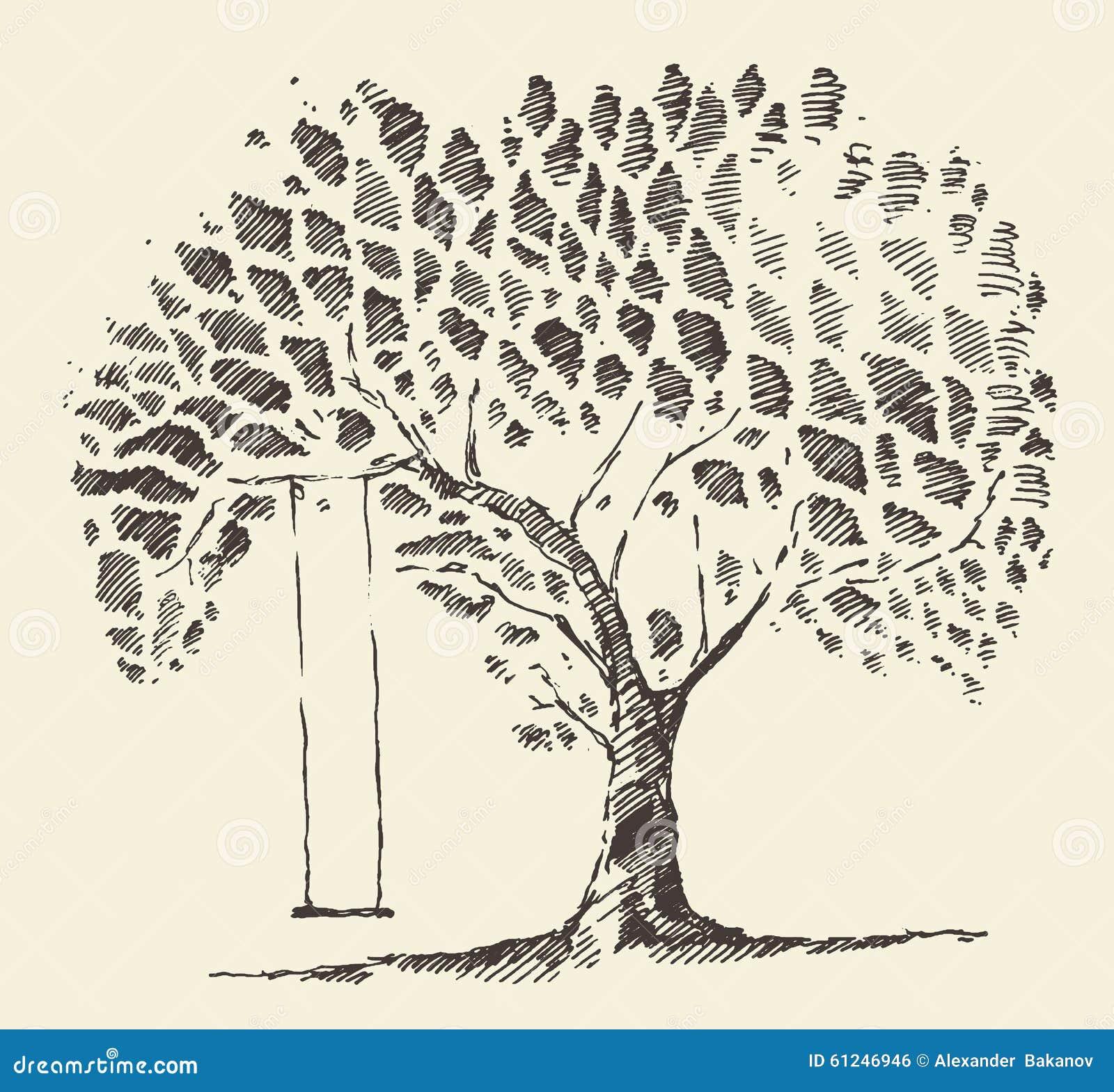 Romantic Illustration Tree Swing Hand Drawn Sketch Stock
