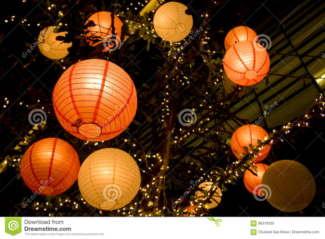 Romantic Japanese Paper Lantern Stock Image - Image of hanging