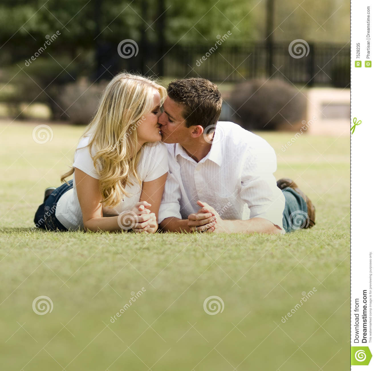 romantic kiss in park stock image image of relationship 7528235