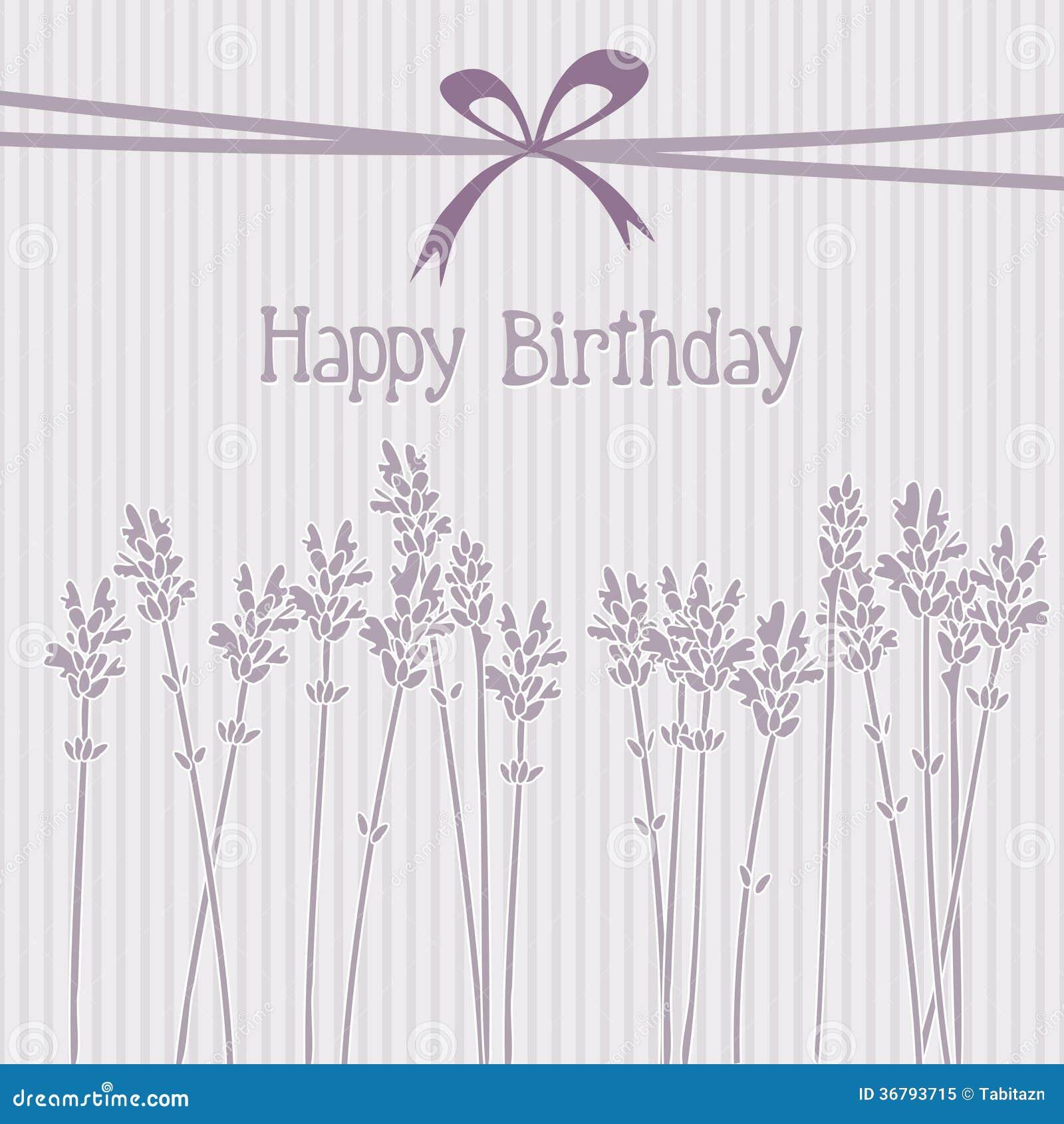 Romantic Lavender Birthday Card Invitation Back Royalty