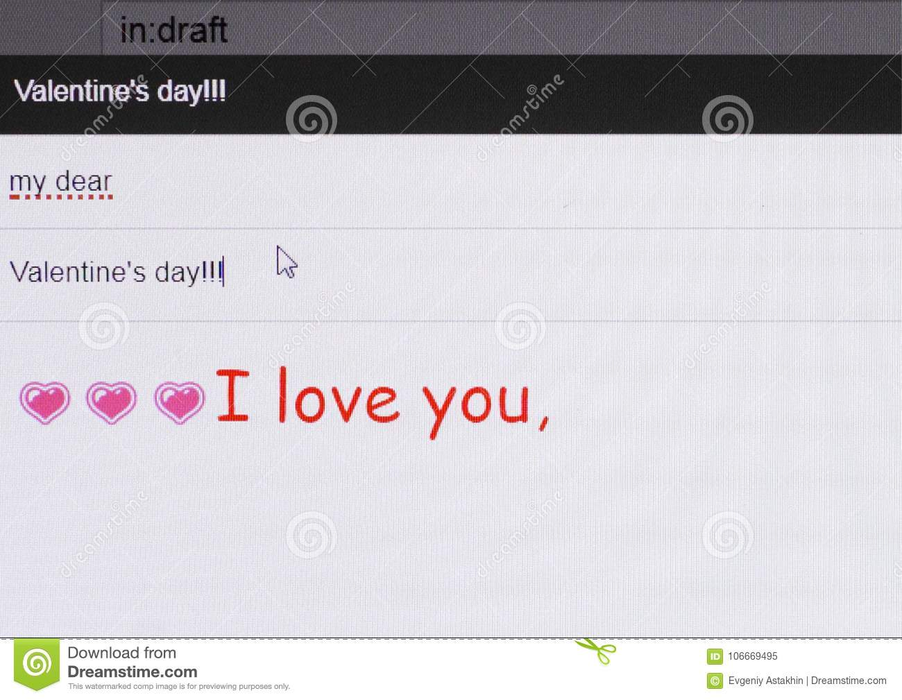 A Romantic Message By Email To St Valentine S Day Stock Image