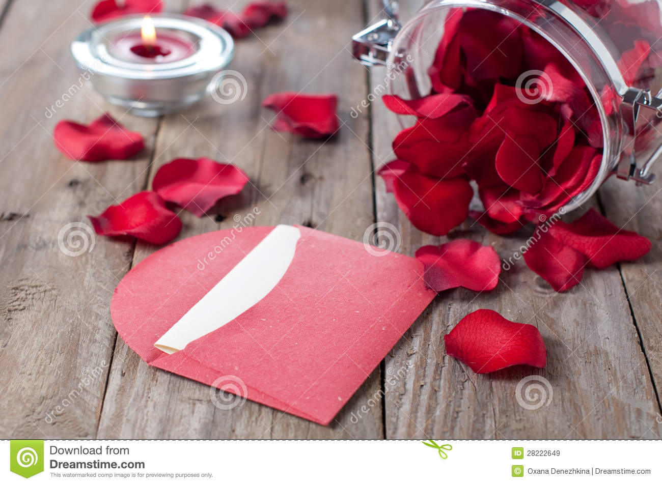 Romantic letter with petals