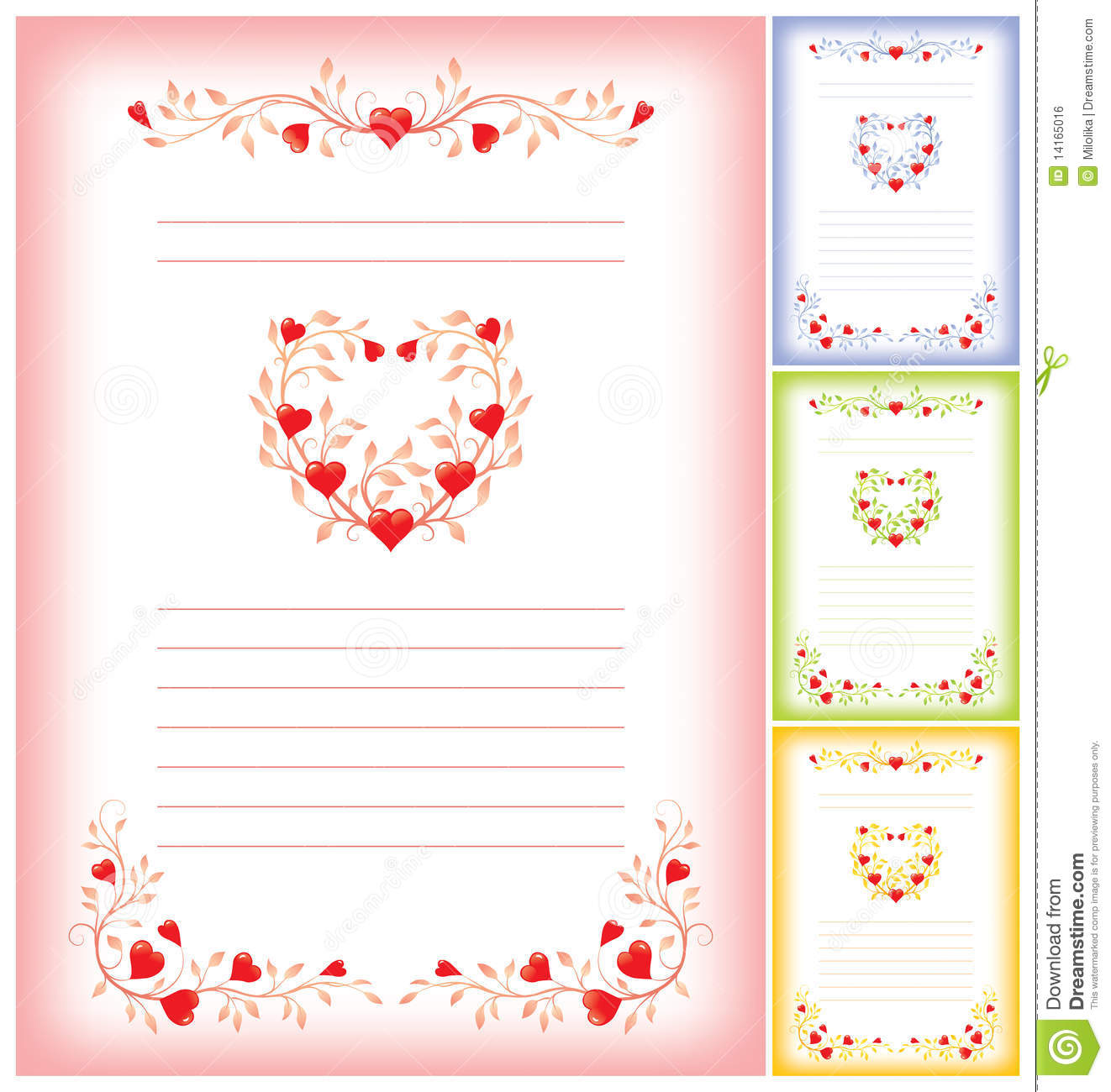 Romantic Letter Template With Hearts Stock Vector  Illustration Of