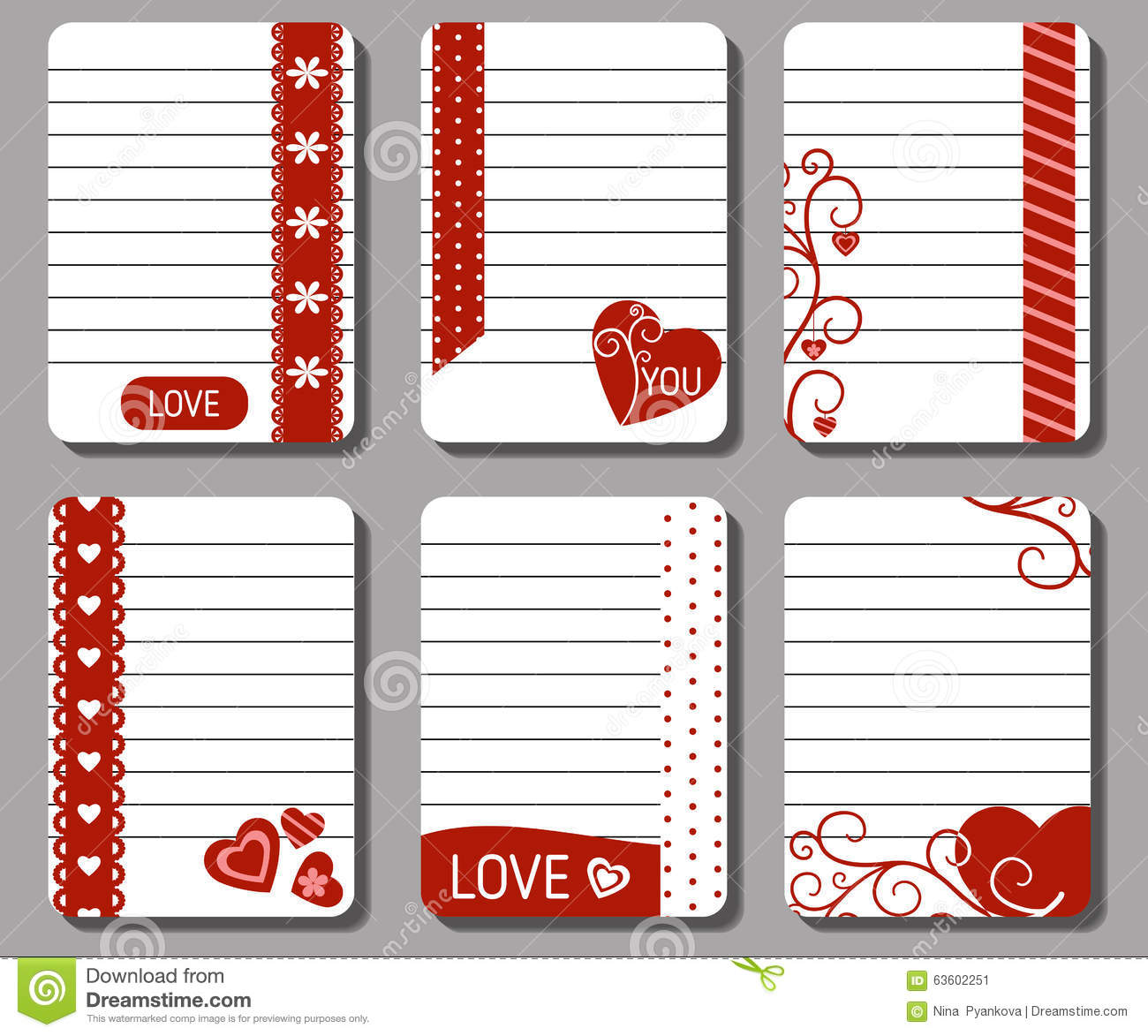 Romantic And Love Cards Notes Stickers Labels Tags