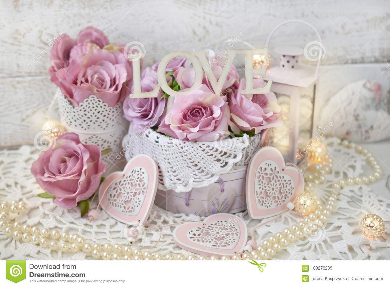 Shabby Chic Colors Style : Romantic love decoration in shabby chic style for wedding or val
