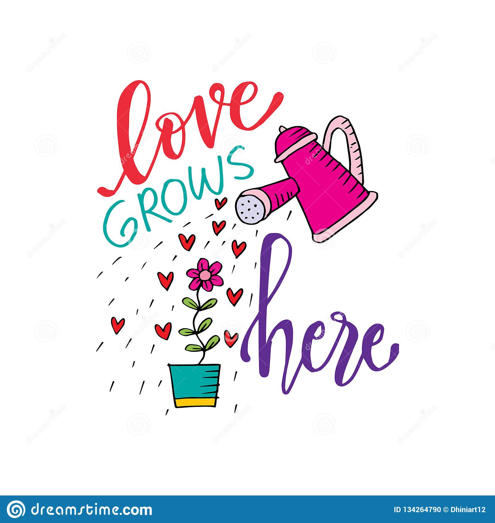 Download Romantic Love Lettering. Love Grows Here. Stock Vector ...