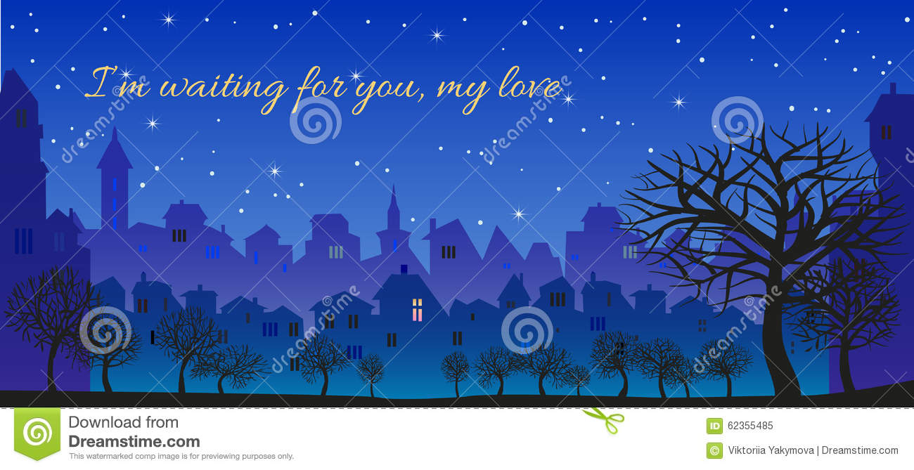 Romantic Message Im Waiting For You My Love Illustration