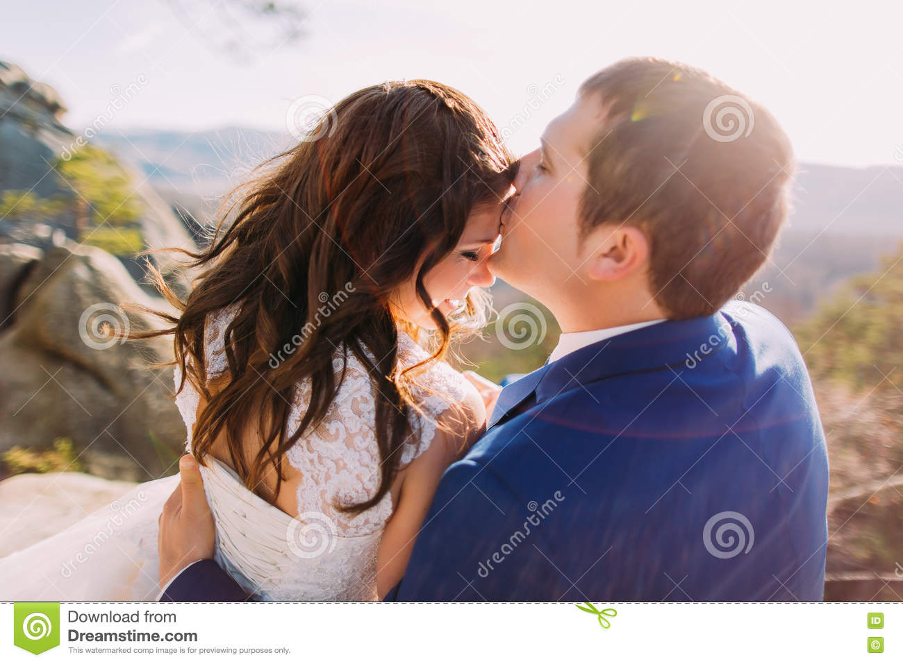 Romantic Moment Of Newlywed Couple Happy Husband Kissing His New