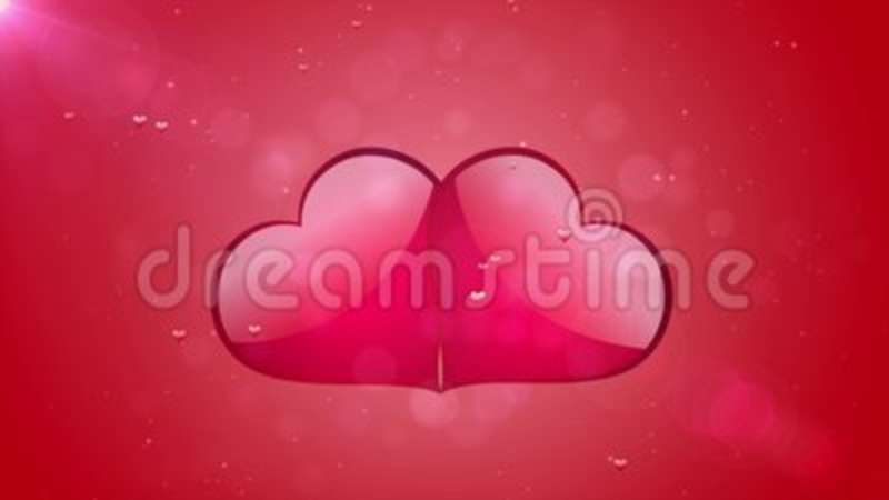 Romantic movement two animated red hearts background valentines